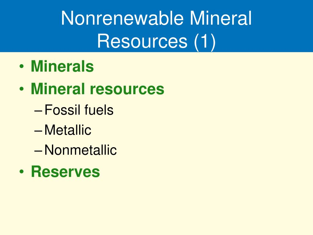Nonrenewable Mineral Resources (1)