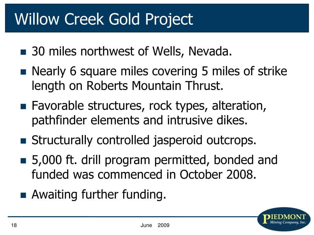 Willow Creek Gold Project
