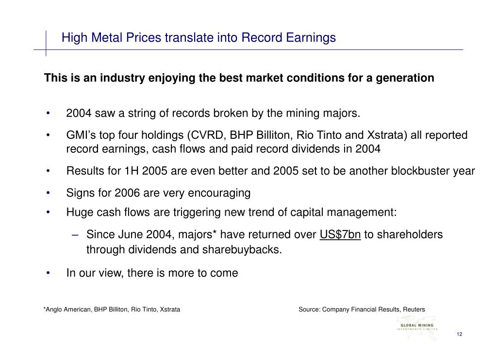 High Metal Prices translate into Record Earnings