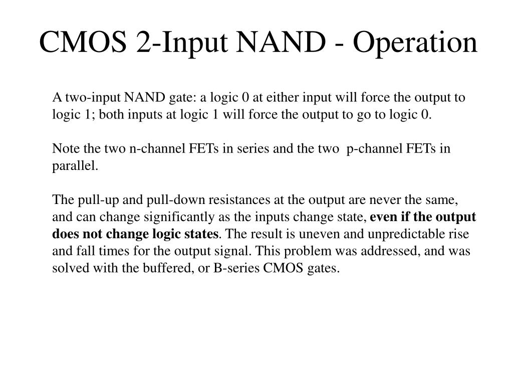 CMOS 2-Input NAND - Operation