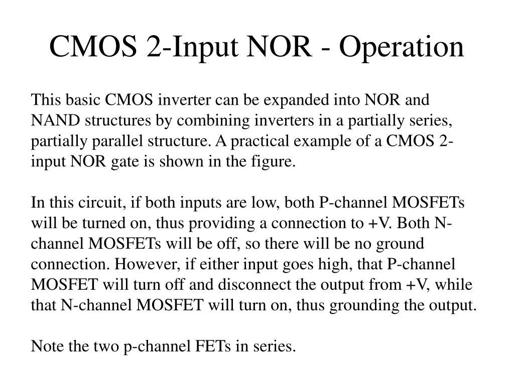 CMOS 2-Input NOR - Operation