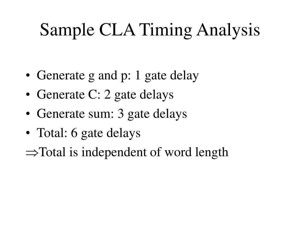 Sample CLA Timing Analysis