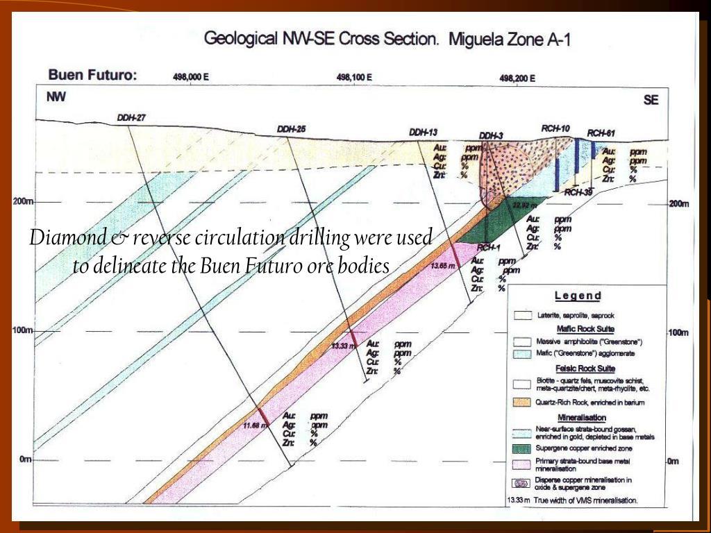 Diamond & reverse circulation drilling were used to delineate the Buen Futuro ore bodies