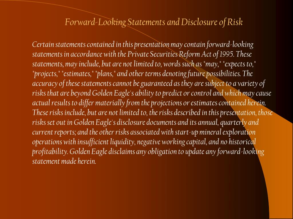 Forward-Looking Statements and Disclosure of Risk