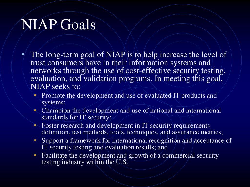 NIAP Goals