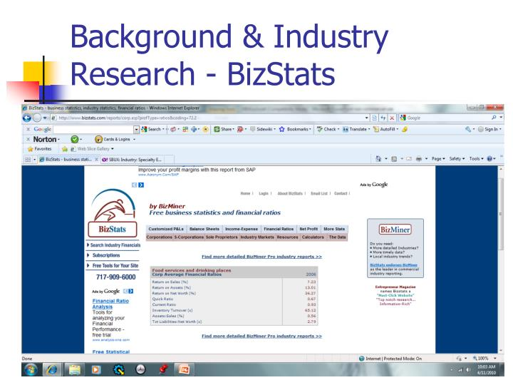 Background industry research bizstats
