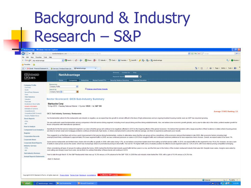 Background & Industry Research – S&P