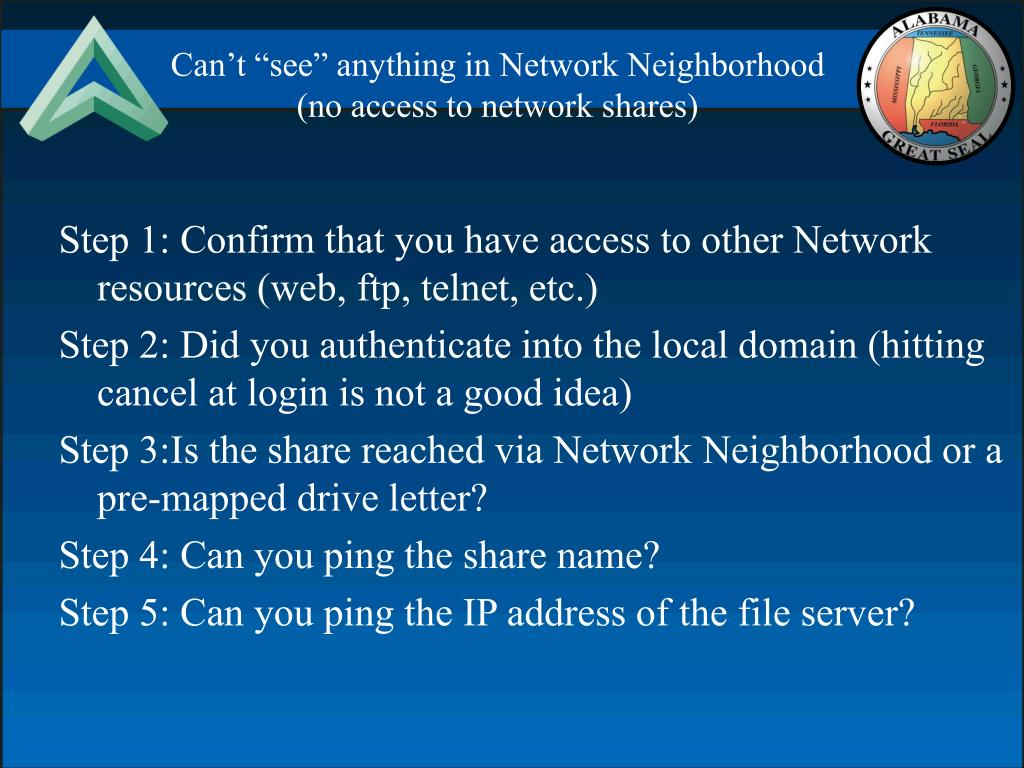 "Can't ""see"" anything in Network Neighborhood"