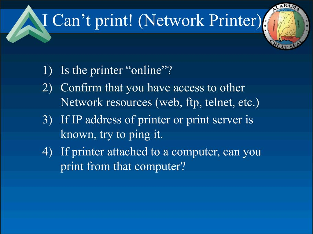 I Can't print! (Network Printer)