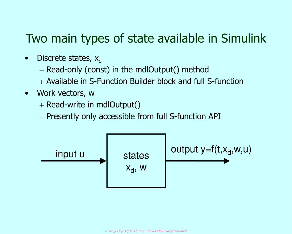 Two main types of state available in Simulink