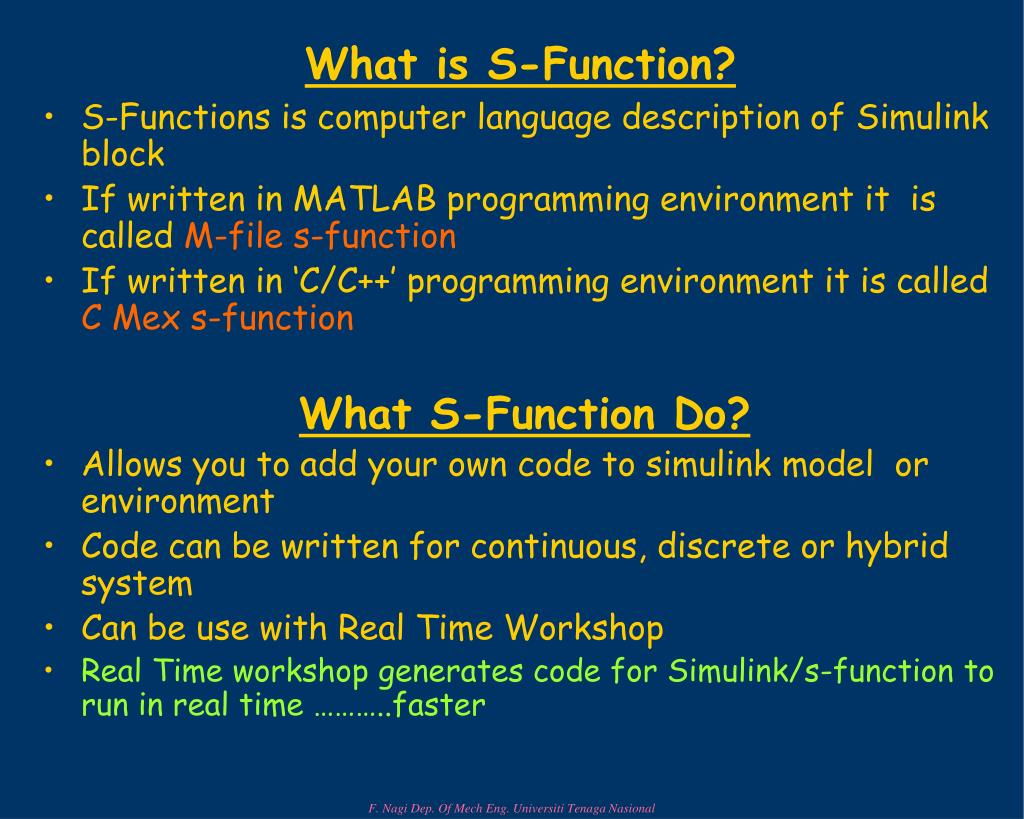 What is S-Function?