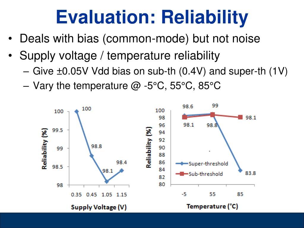 Evaluation: Reliability
