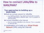 how to connect lans bns to wan man