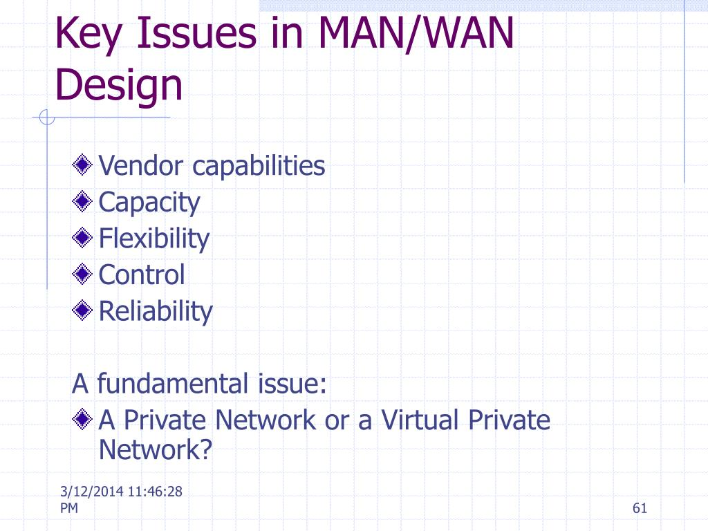Key Issues in MAN/WAN Design