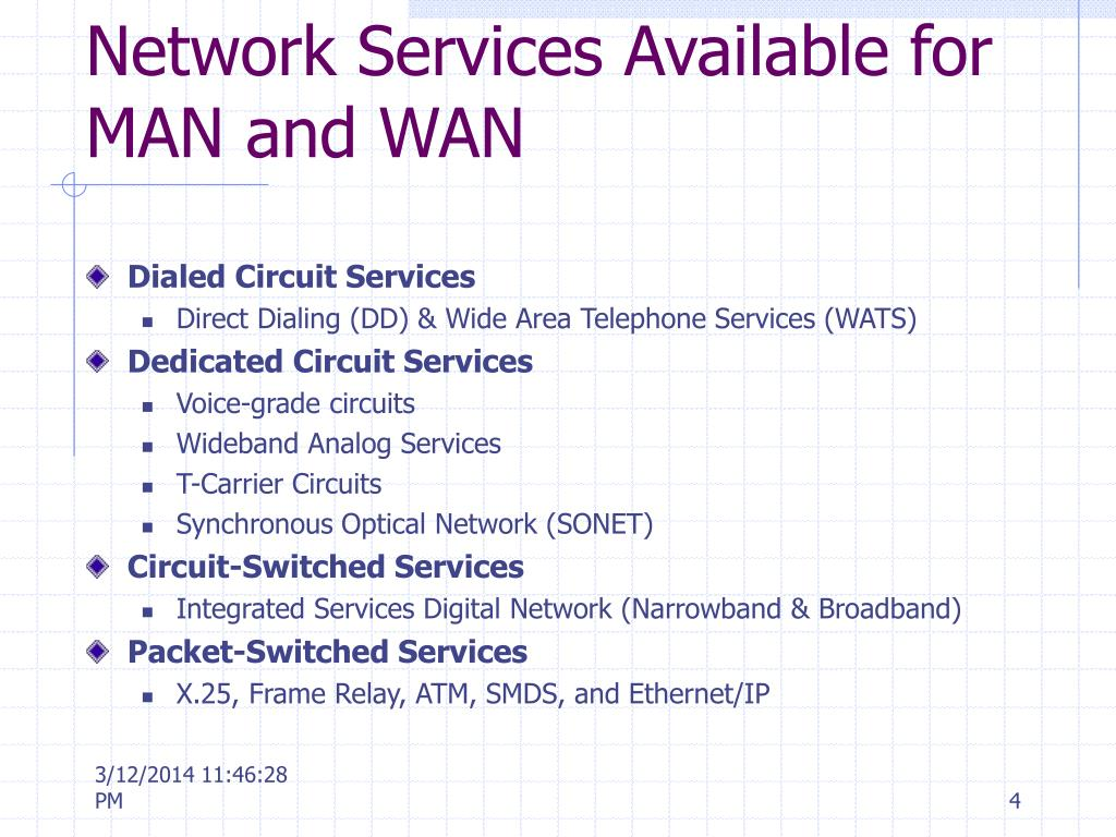 Network Services Available for MAN and WAN