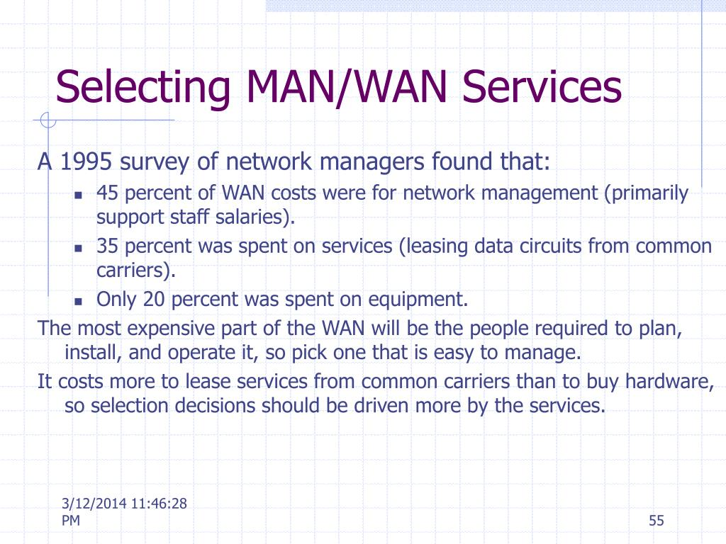 Selecting MAN/WAN Services