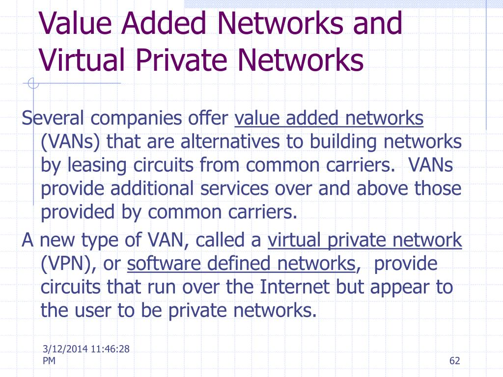 Value Added Networks and Virtual Private Networks