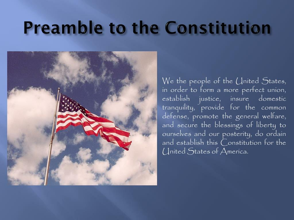 preamble united states constitution essay We the people of the united states, in order to form a more perfect union, establish justice, insure domestic tranquility, provide for the common defense, promote the general welfare, and secure the blessings of liberty to ourselves and our posterity, do ordain and establish this constitution.
