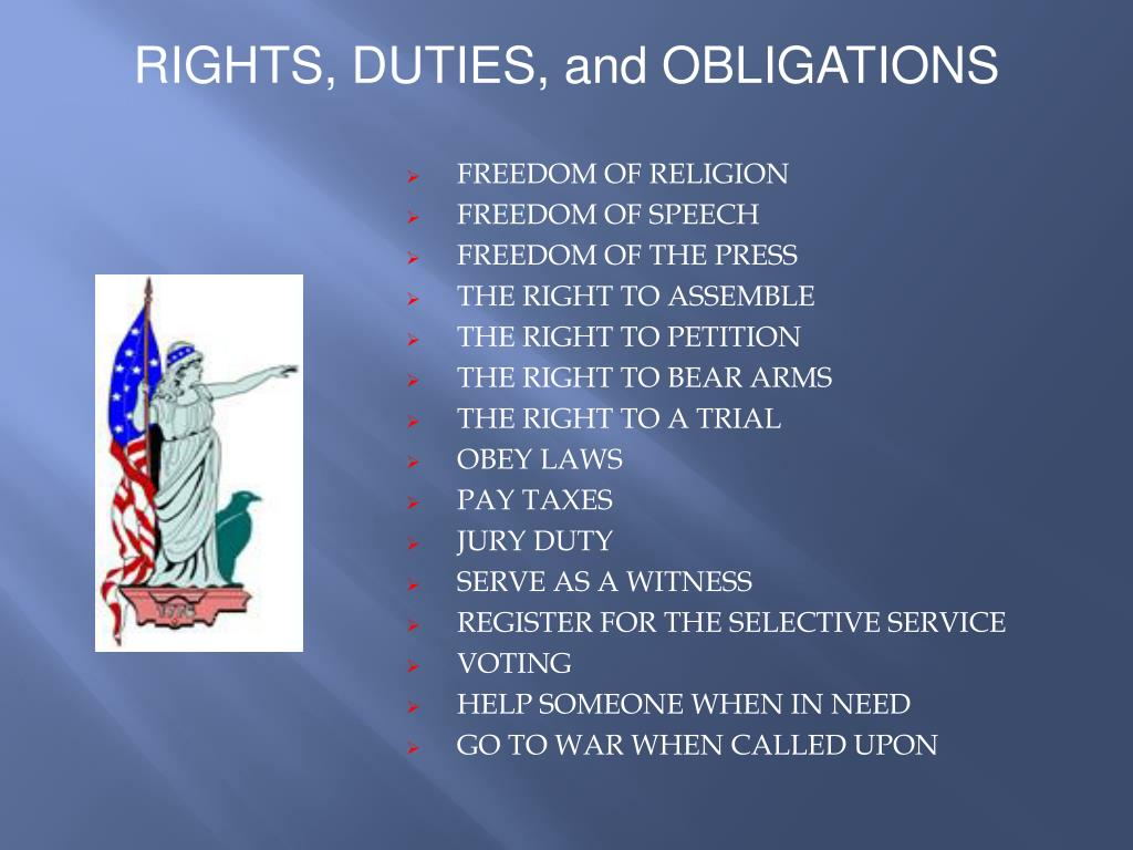 RIGHTS, DUTIES, and OBLIGATIONS