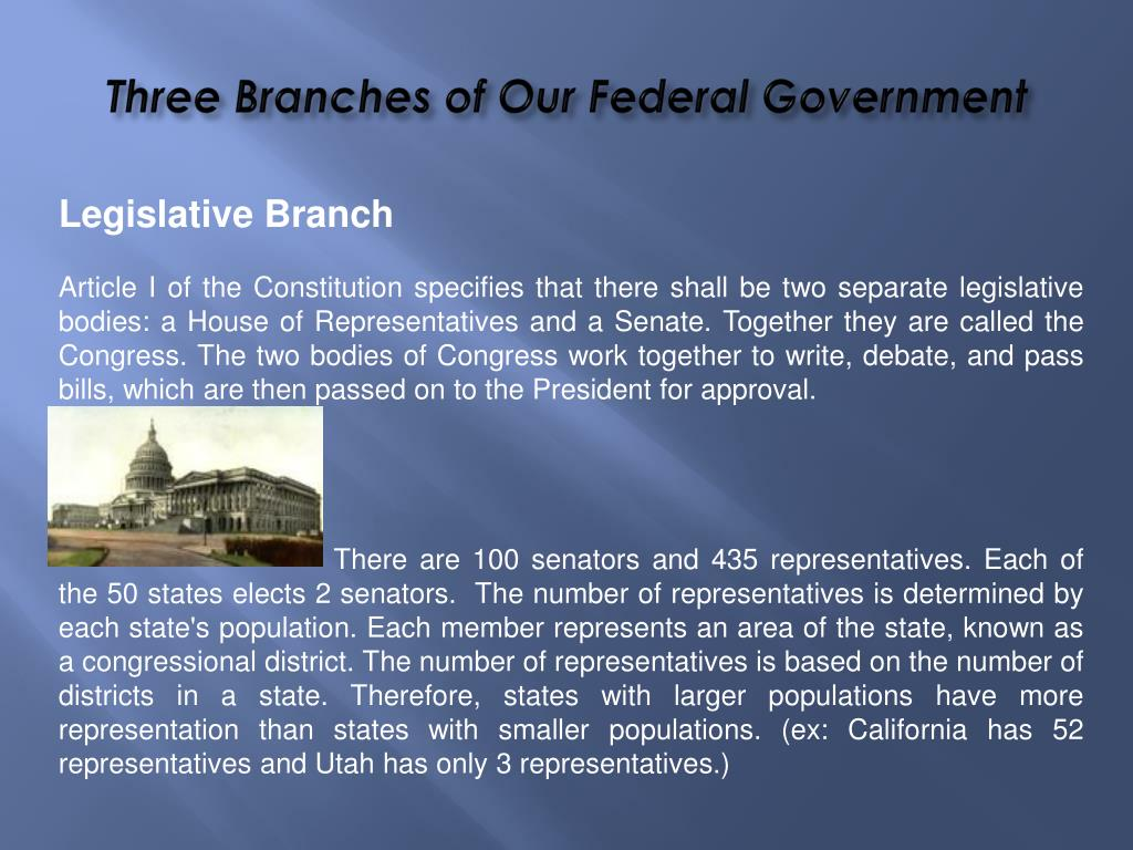 major branches of federal government meet and work