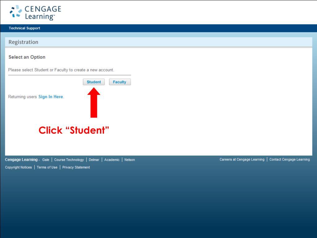 """Click """"Student"""""""