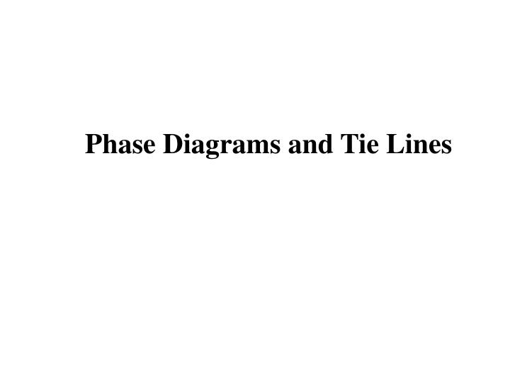 Phase Diagrams and Tie Lines