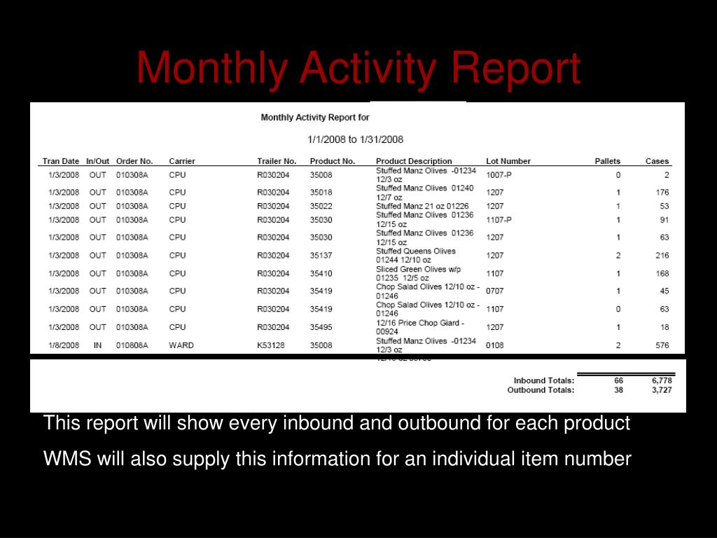 Monthly Activity Report