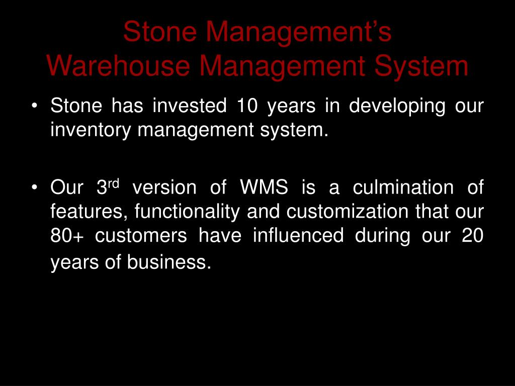 Stone Management's