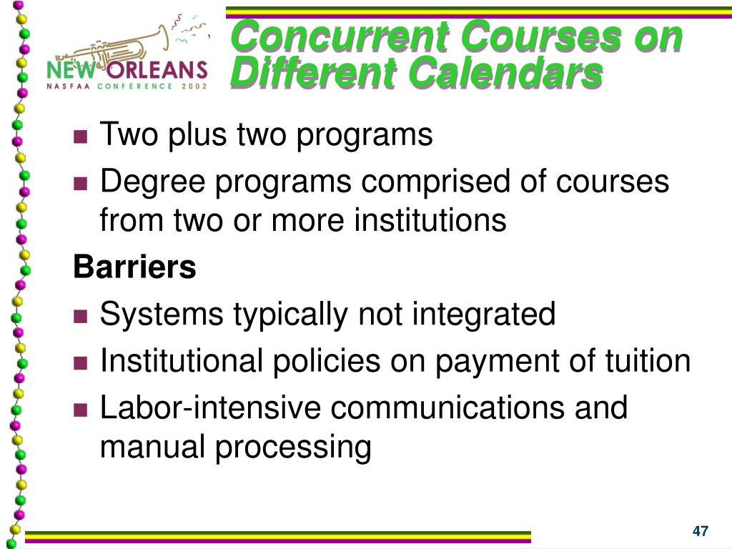Concurrent Courses on Different Calendars