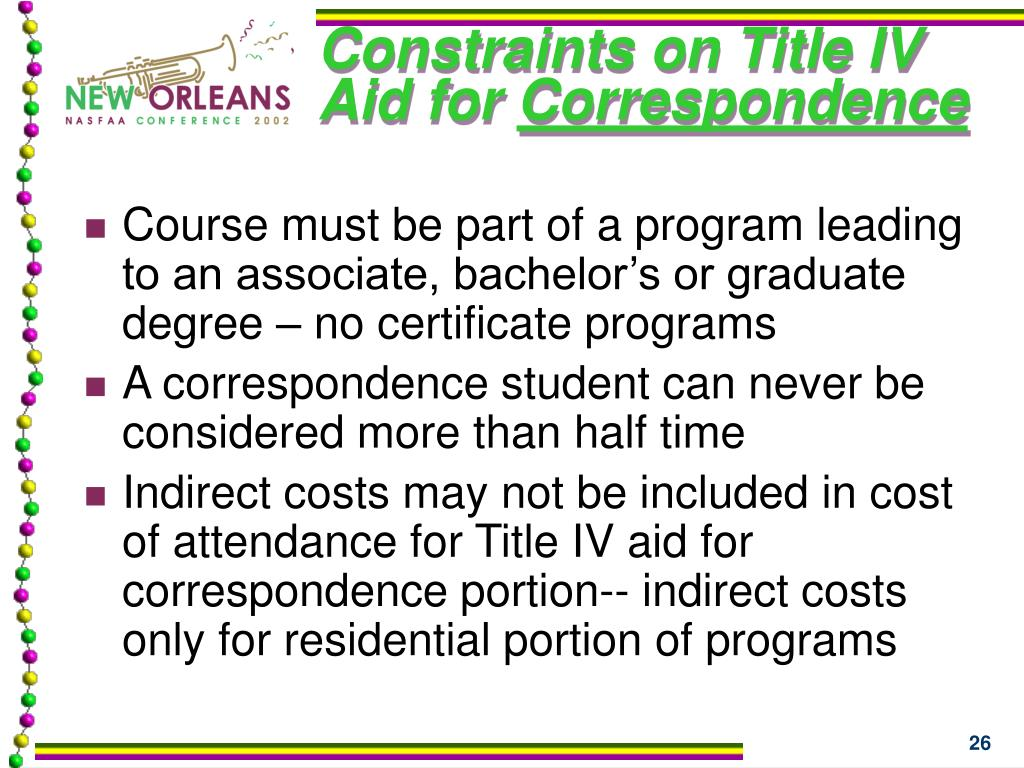 Constraints on Title IV Aid for