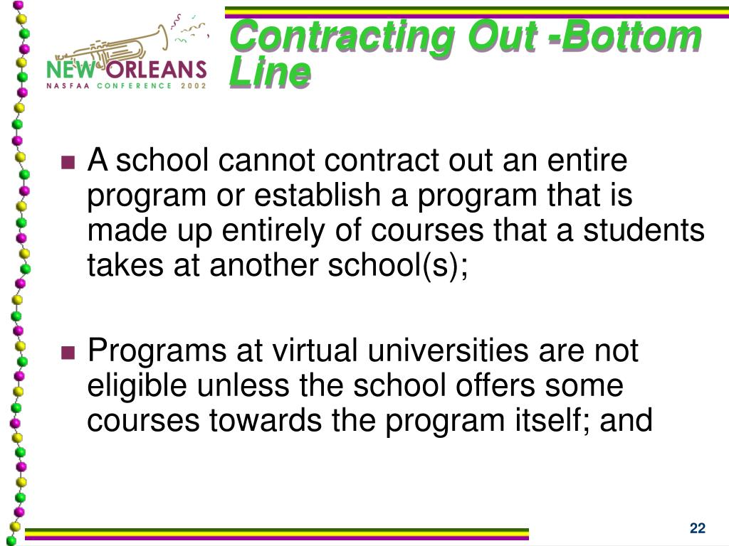 Contracting Out -Bottom Line