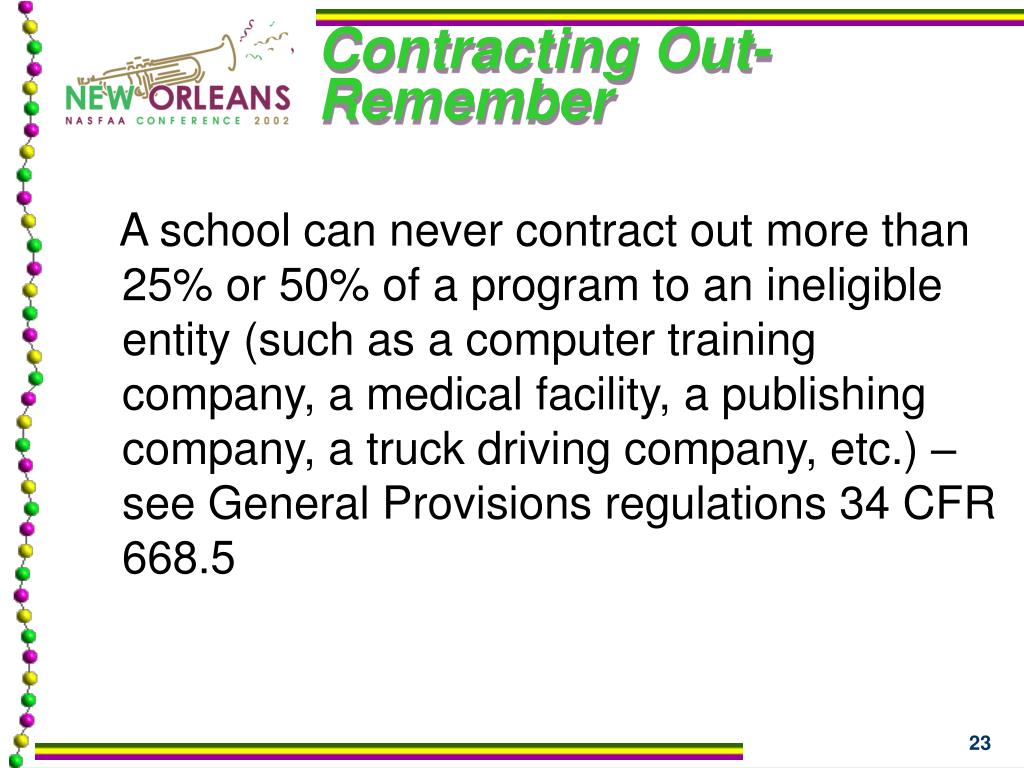 Contracting Out- Remember