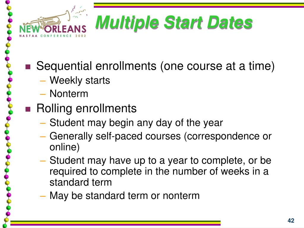 Multiple Start Dates