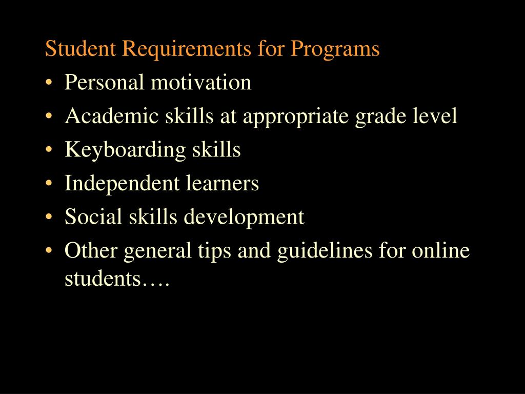 Student Requirements for Programs