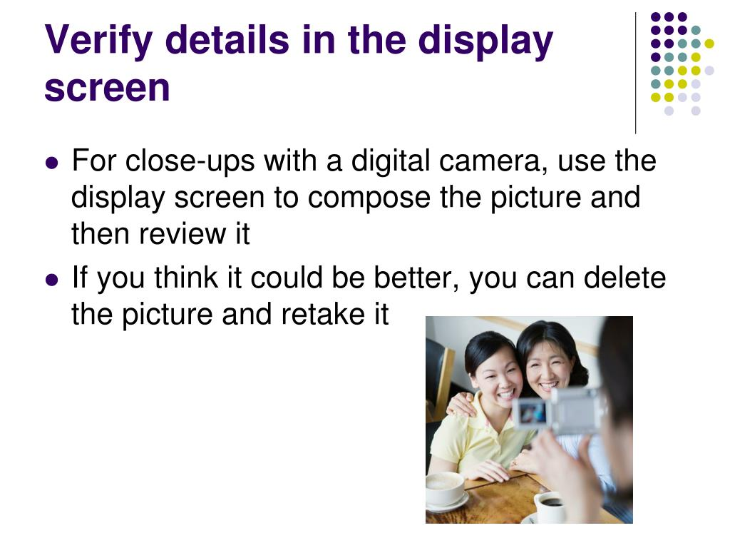 Verify details in the display screen