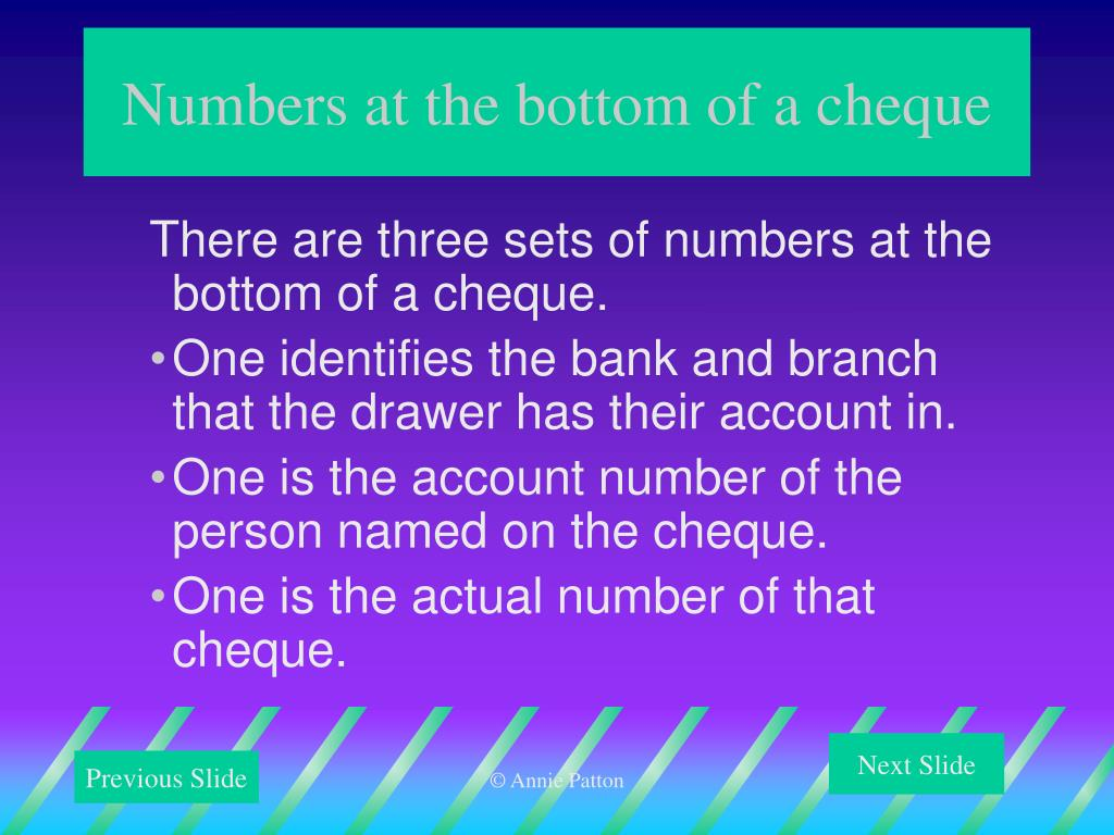 Numbers at the bottom of a cheque