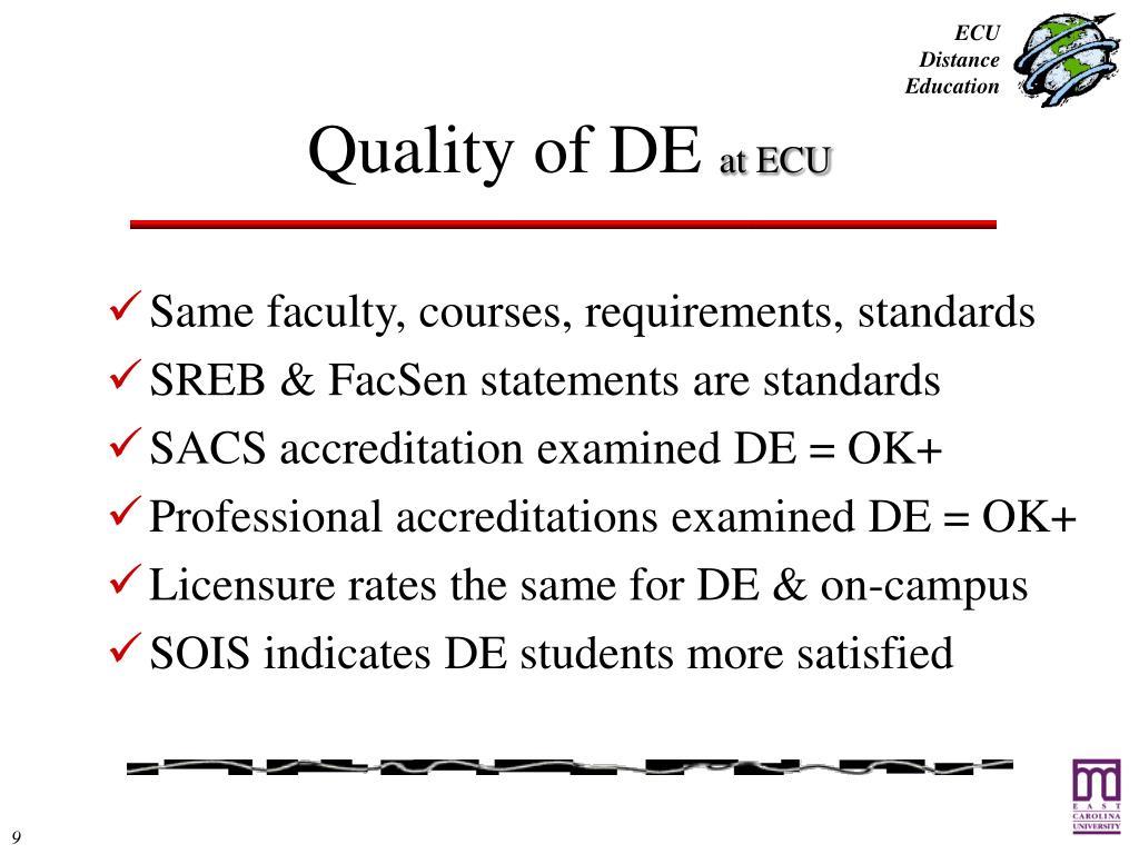 Quality of DE