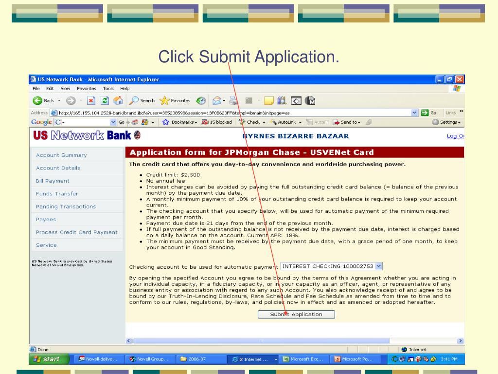 Click Submit Application.
