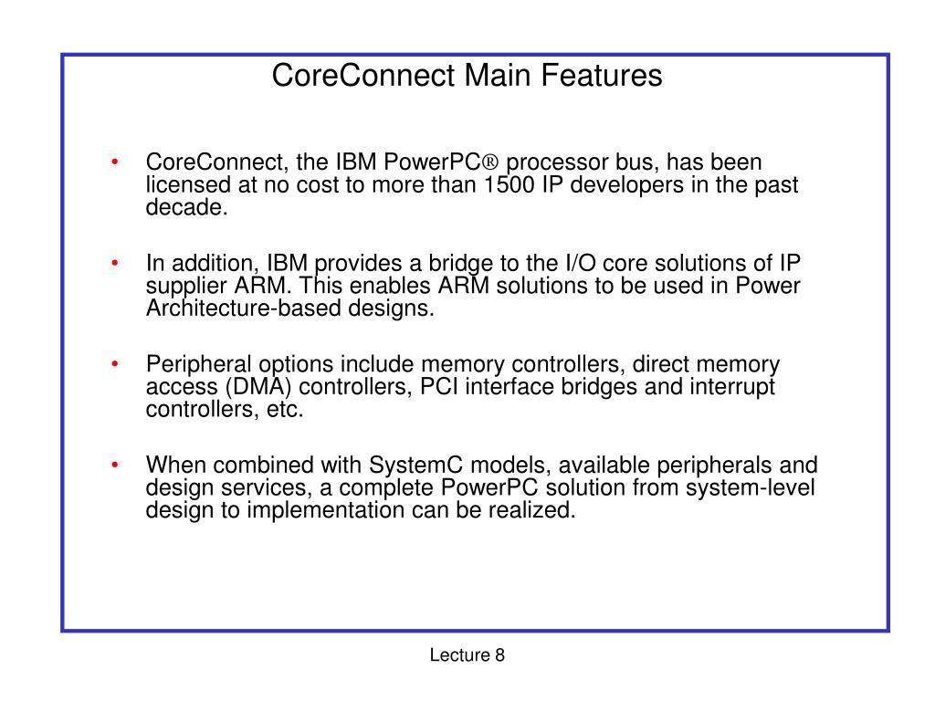 CoreConnect Main Features