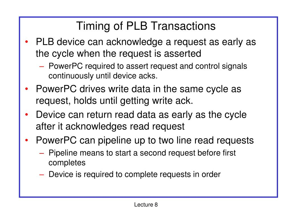 Timing of PLB Transactions