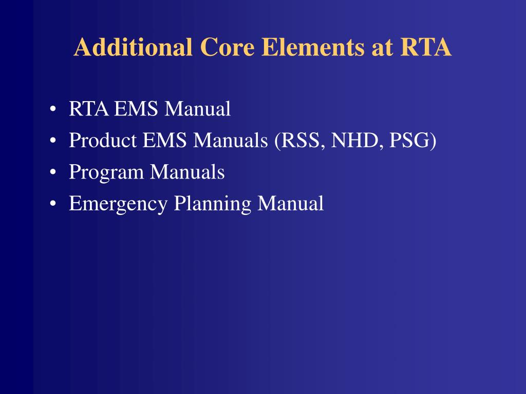 Additional Core Elements at RTA