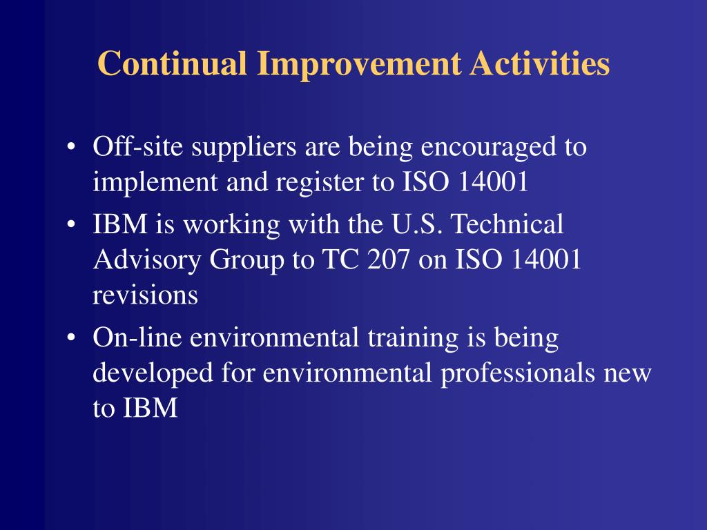 Continual Improvement Activities