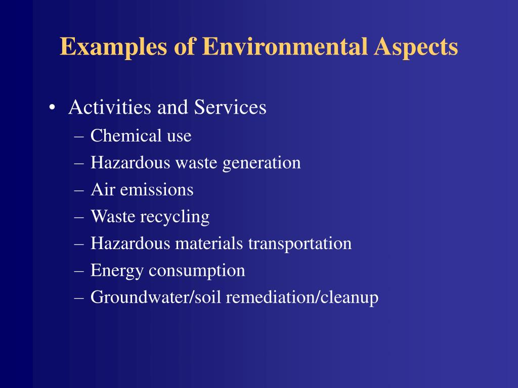 Examples of Environmental Aspects