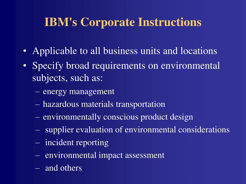 IBM's Corporate Instructions