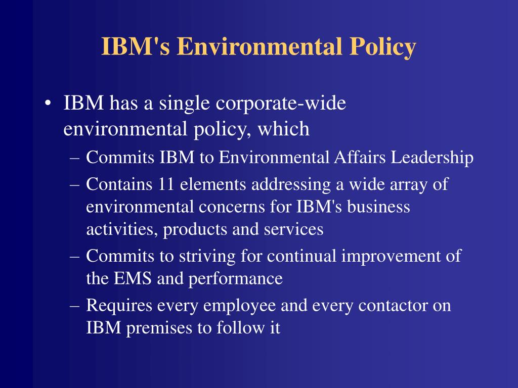 IBM's Environmental Policy
