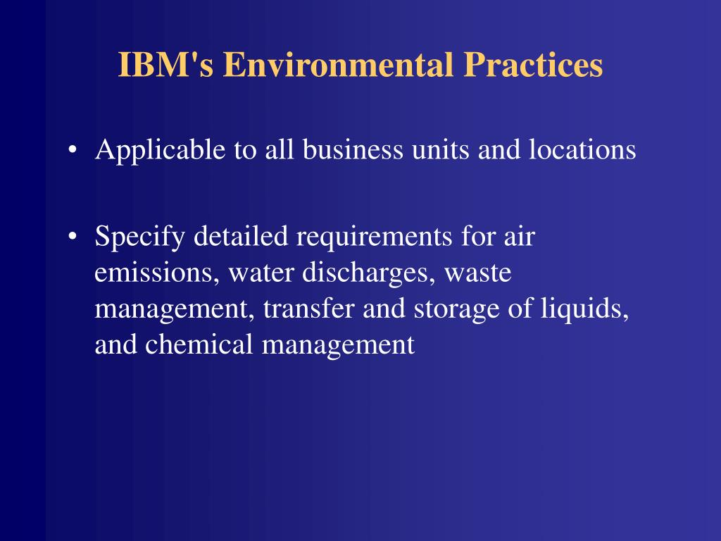 IBM's Environmental Practices