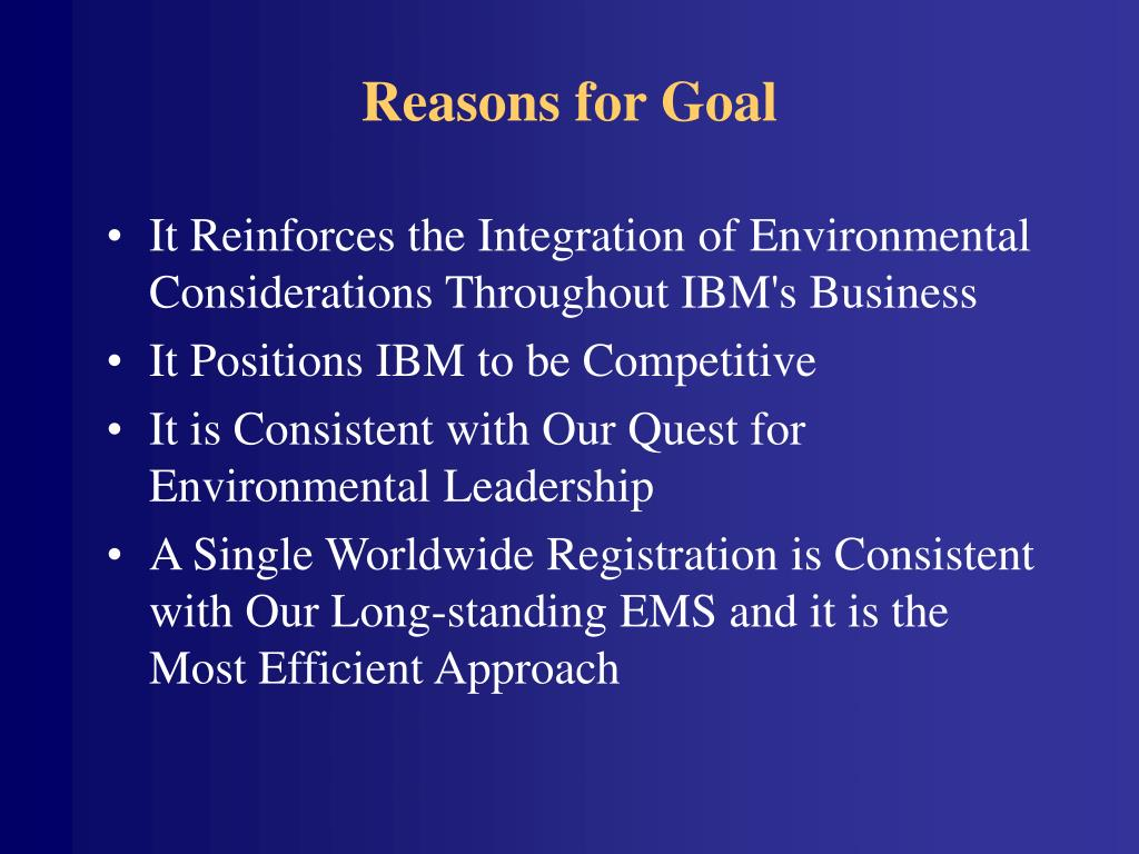 Reasons for Goal