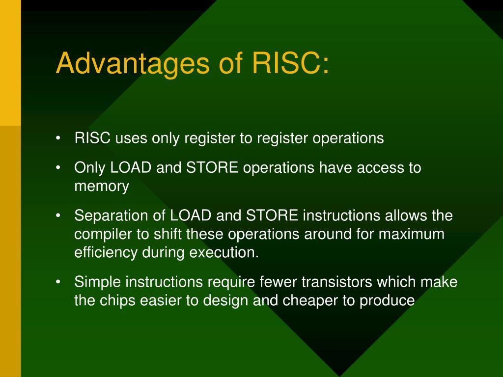 Advantages of RISC: