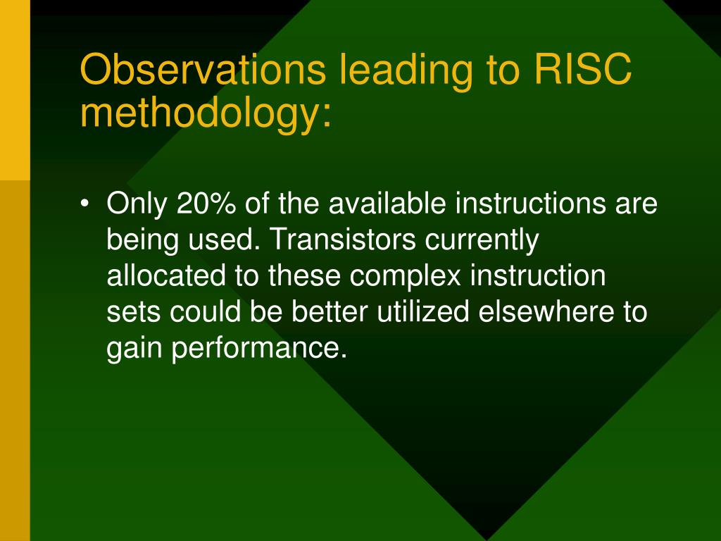 Observations leading to RISC methodology: