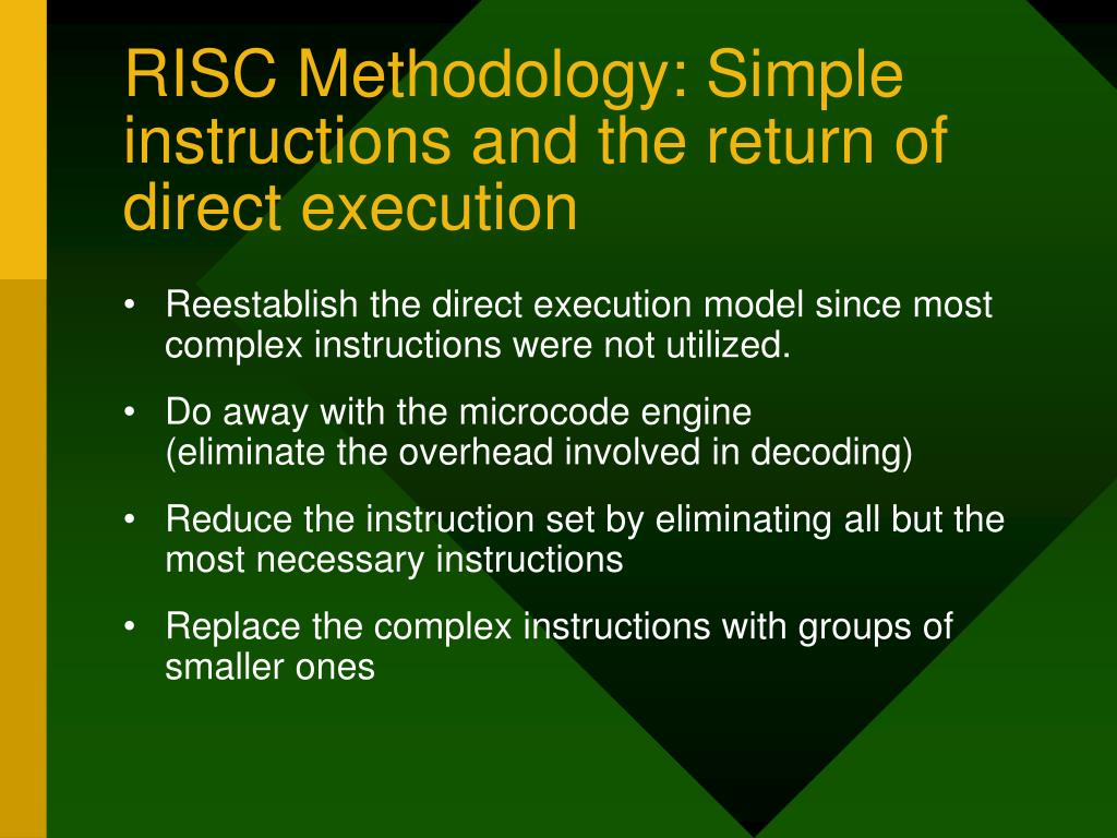 RISC Methodology: Simple instructions and the return of direct execution